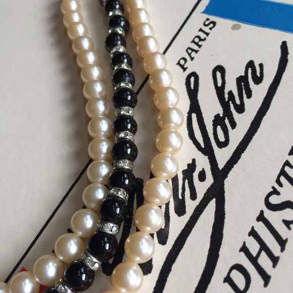 Trifari Triple Strand Gray Pearl Necklace Vintage 1950s